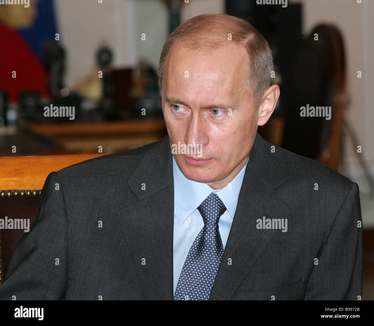 President Vladimir Putin during a meeting of the Russian Security Council at Novo Ogaryovo - Stock Image