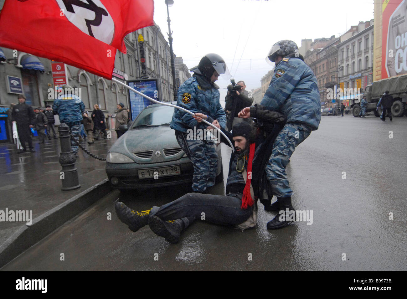 Clashes of special police forces with participants in the unauthorized opposition action March of the disagreeing - Stock Image