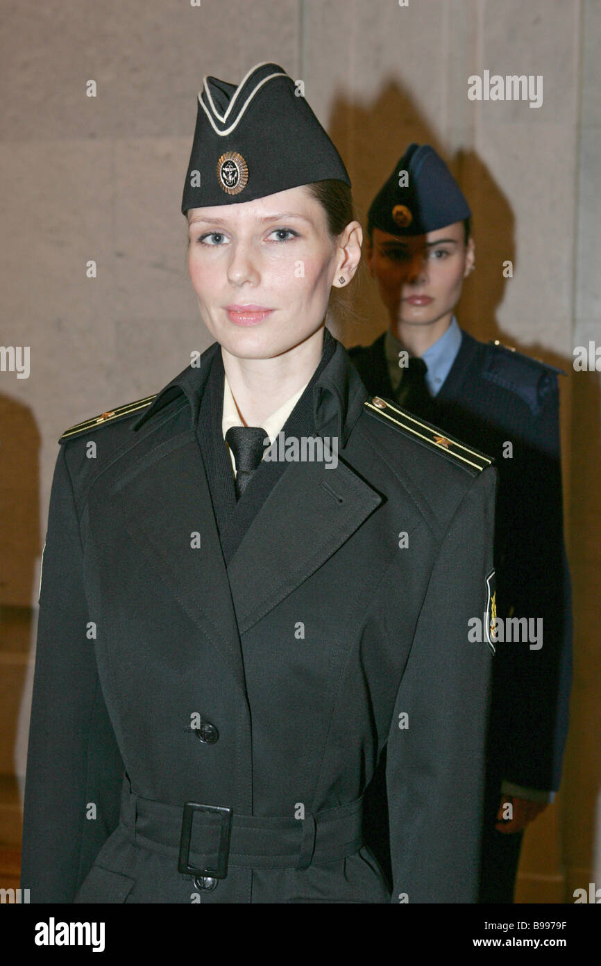 A new Russian military uniform show at the General Staff of the Defense Ministry Stock Photo