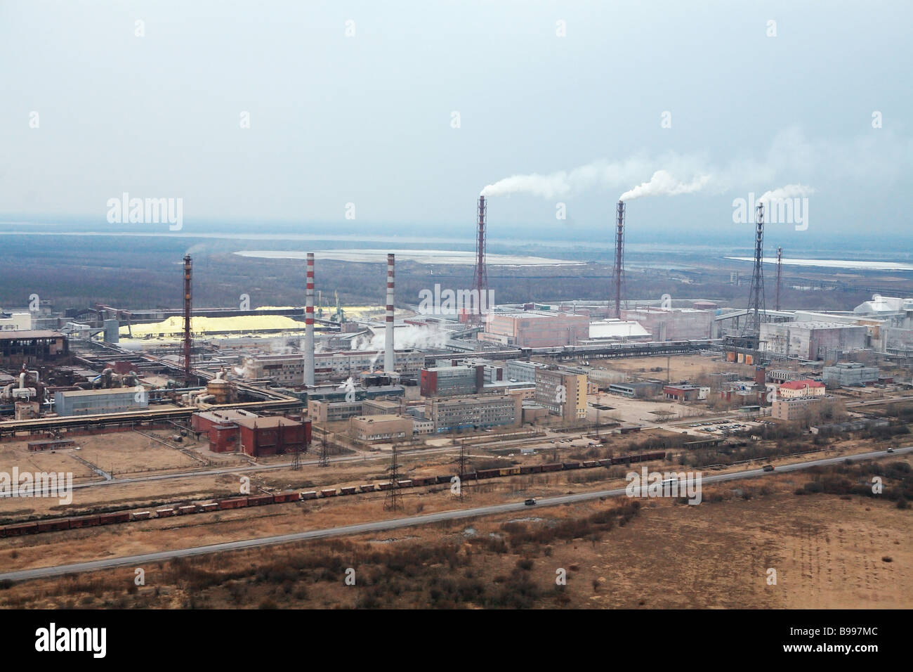 A panorama of the Amafos chemical works - Stock Image