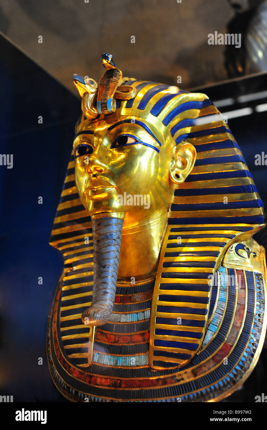 Egypt Cairo The Egyptian Museum interior museum of antiquities and ancient culture Mask of Tutankhamun s mummy - Stock Image