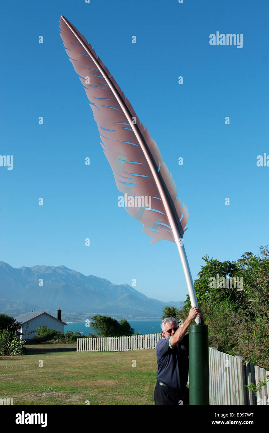 This giant feather is an object of note in Kaikoura New Zealand - Stock Image
