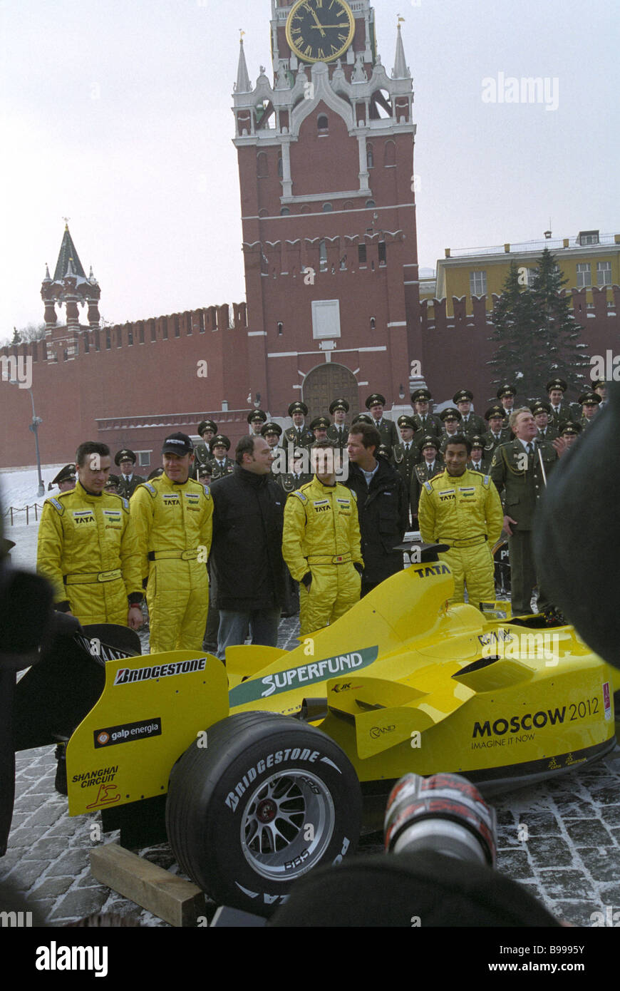 Members of Formula 1 team including Russian pilot Roman Rusinov first from left were introduced to the public on - Stock Image