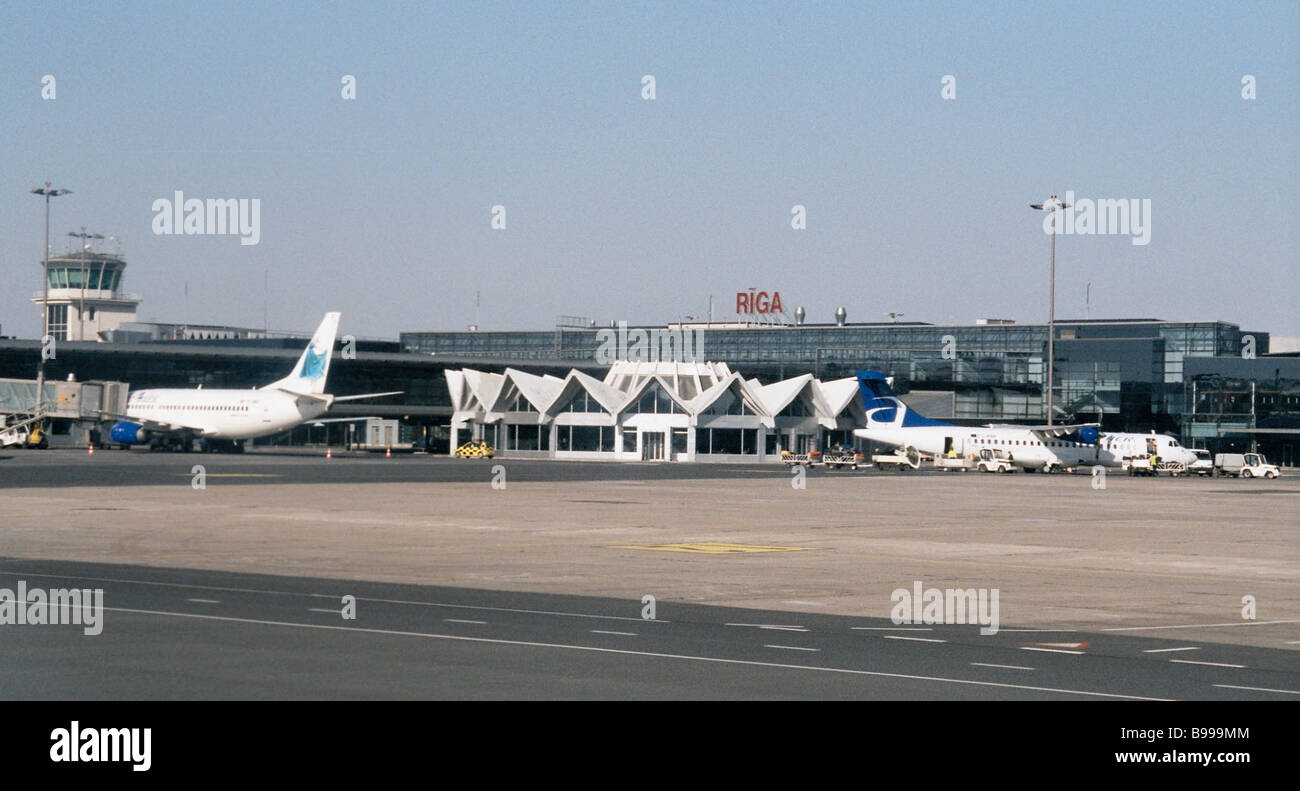 Airliners in the Riga airport - Stock Image
