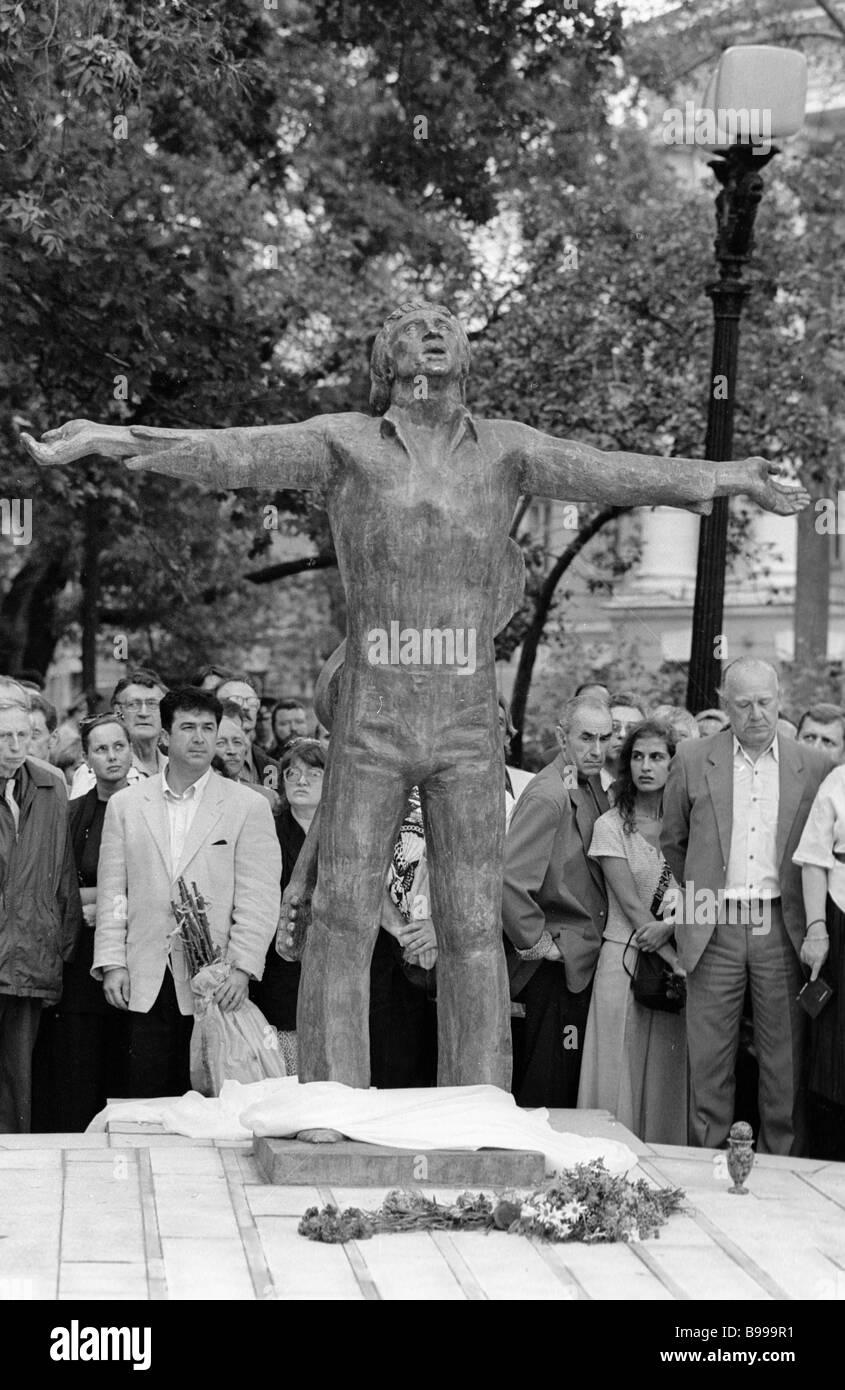 Bard Vladimir Vysotsky monument unveiling in Strastnoi Boulevard Moscow - Stock Image