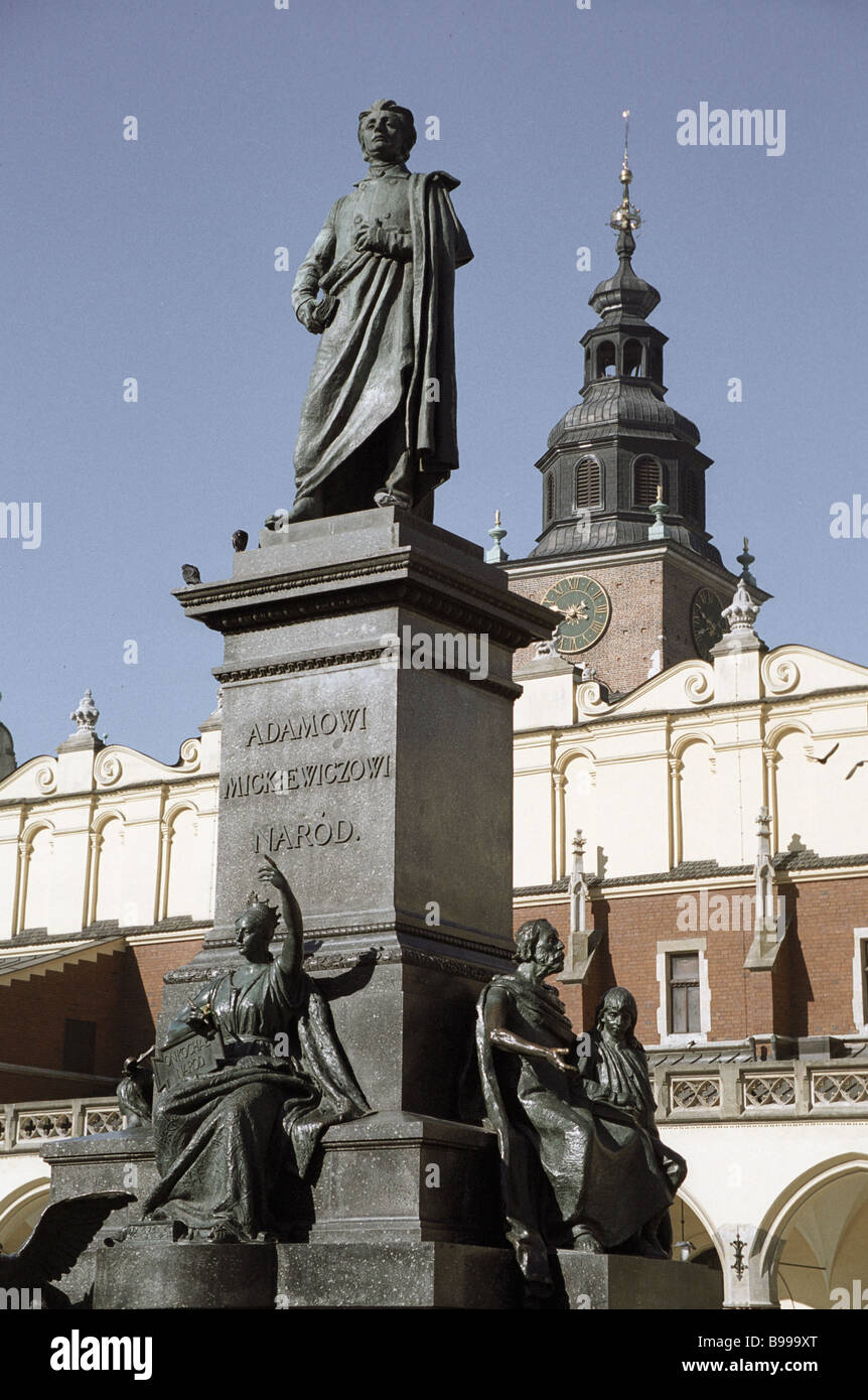 A monument to the Polish poet Adam Mickevich in the Central Market square Stock Photo