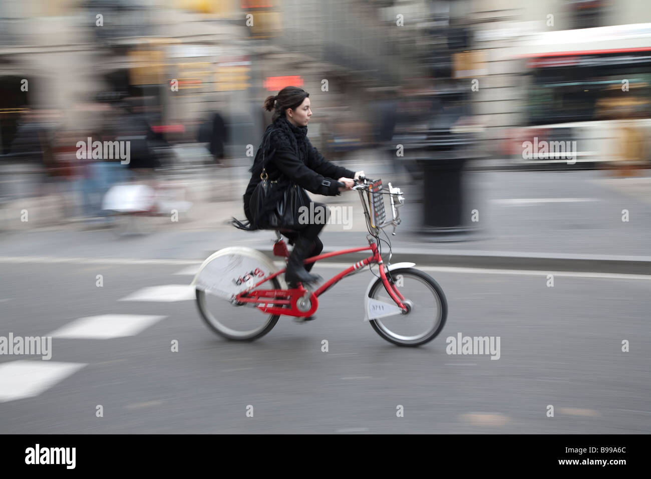 Rented Bicing Bicyle on La Rambla, Barcelona - Stock Image