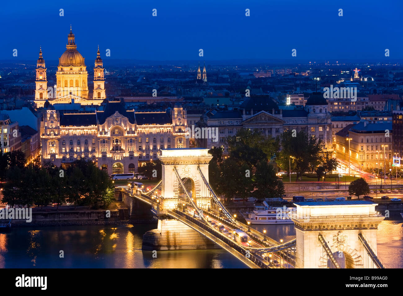 St Stephen's Basilica Chain Bridge Budapest Hungary - Stock Image
