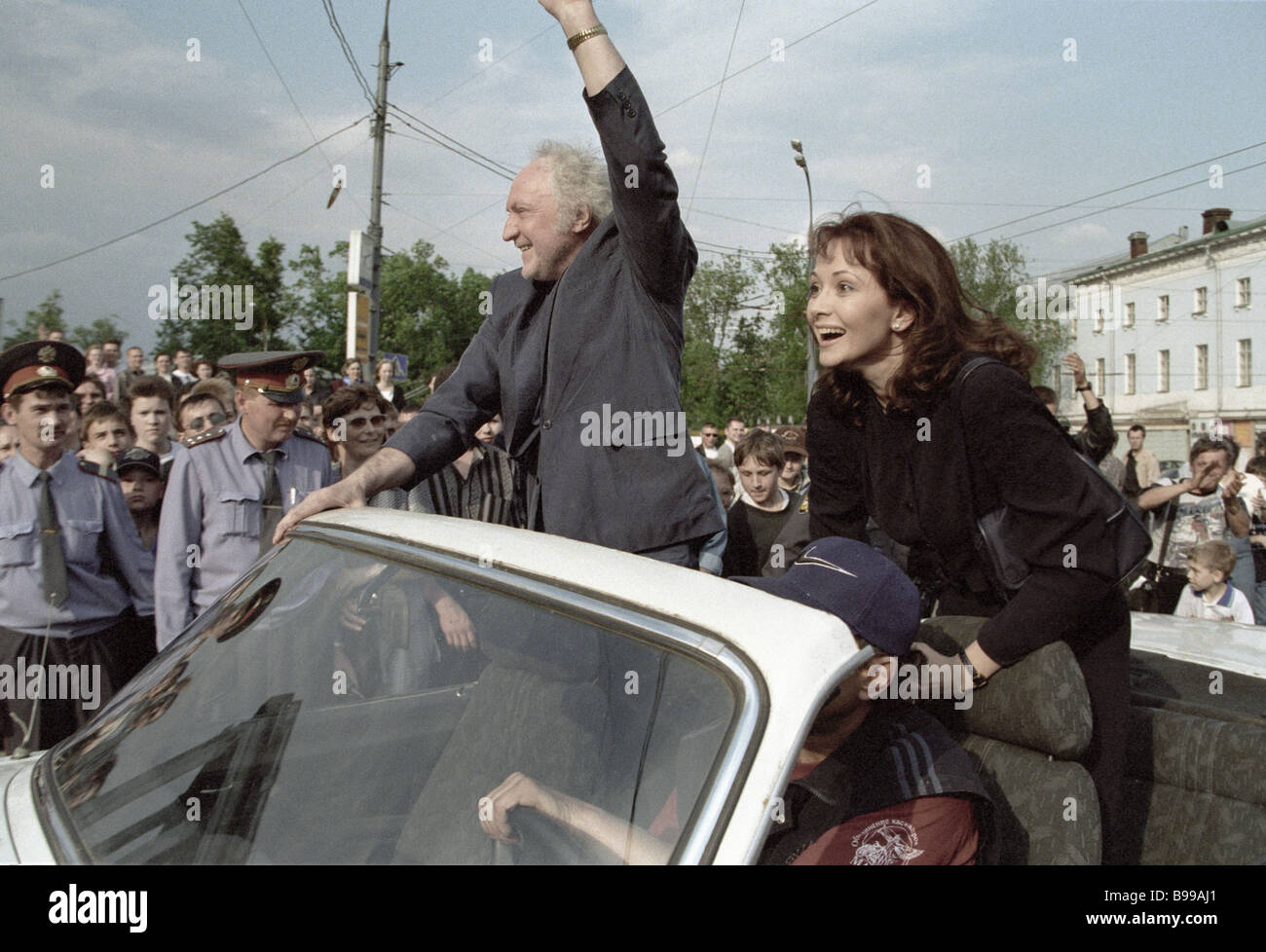 Actors Olga Kabo and Boris Khimichev 4th Moscow Stunt Men s International Festival honor guests arrive at its opening - Stock Image