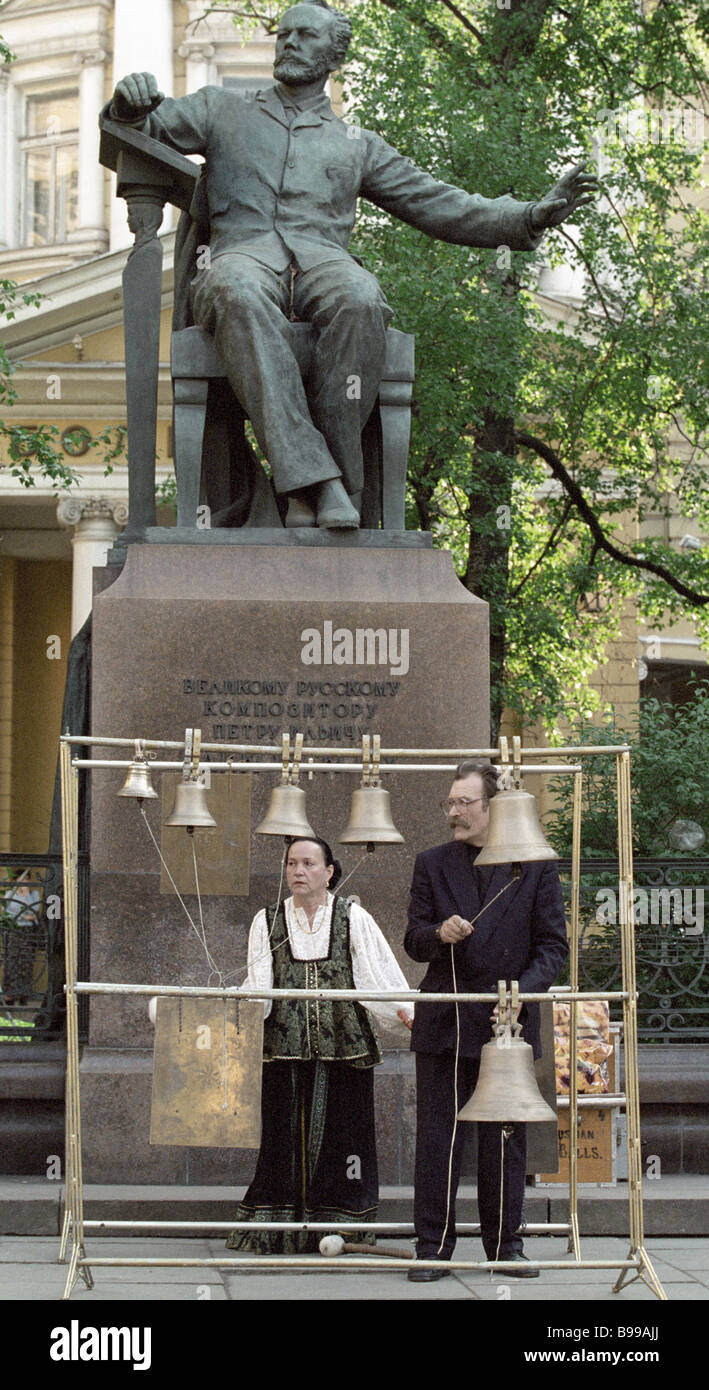 Bell ringers at the Peter Tchaikovsky monument 1st Moscow Easter festival opening gala - Stock Image
