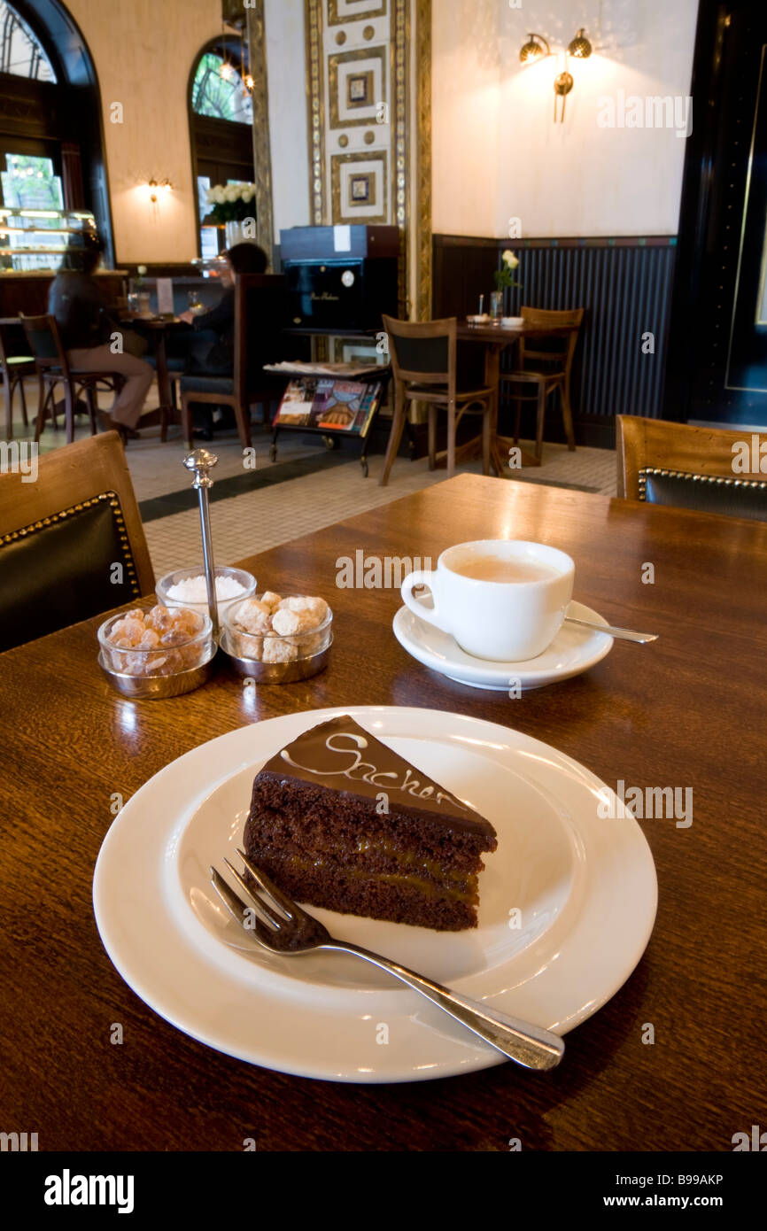 Sacher Tortar or cake Callas Etterem Cafe by the Opera House Budapest Hungary - Stock Image