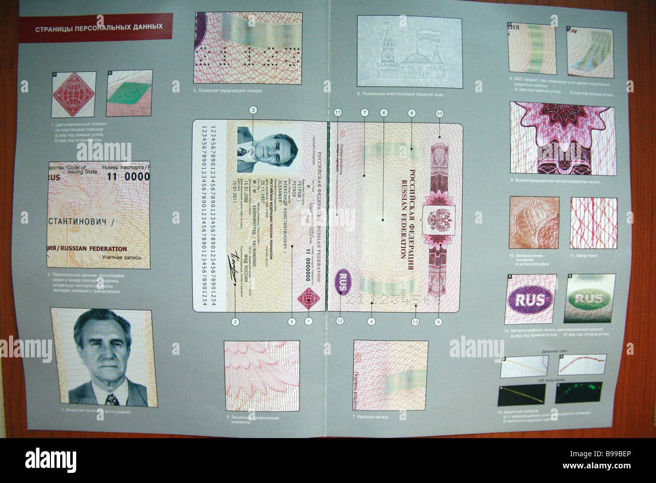 The personal information pages of the new generation foreign passport - Stock Image