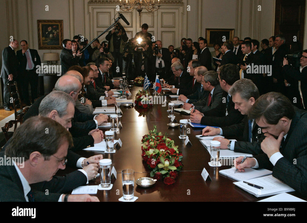 Russian Greek talks at the Greek prime minister s residence in Athens - Stock Image