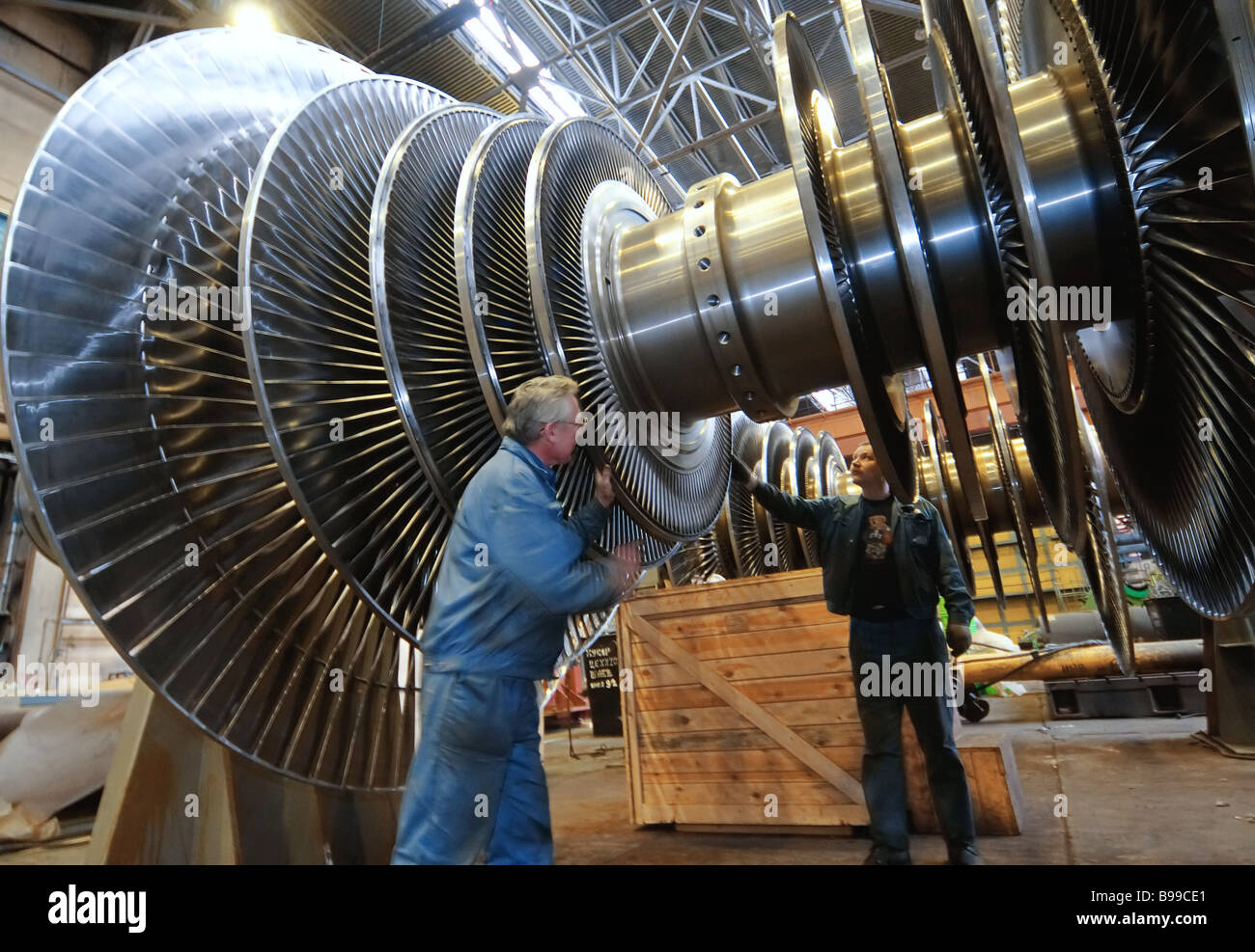 A turbine rotor assembly and balancing area - Stock Image