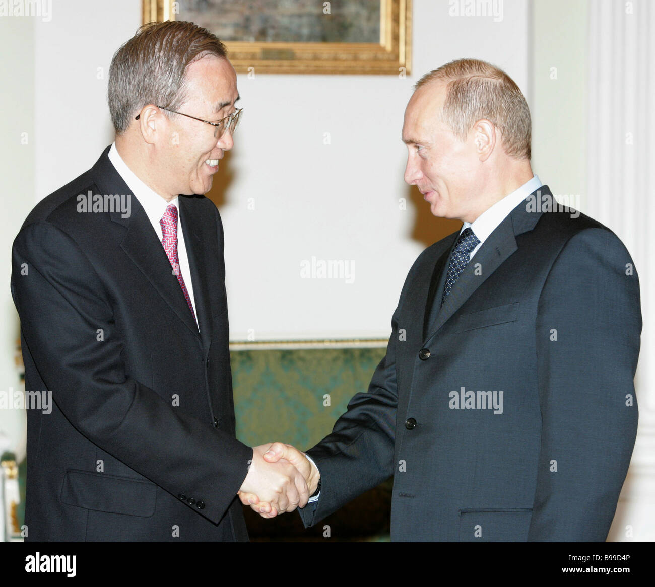 Ban Ki Moon who was appointed the next UN Secretary General and Russian President Vladimir Putin left to right meeting Stock Photo