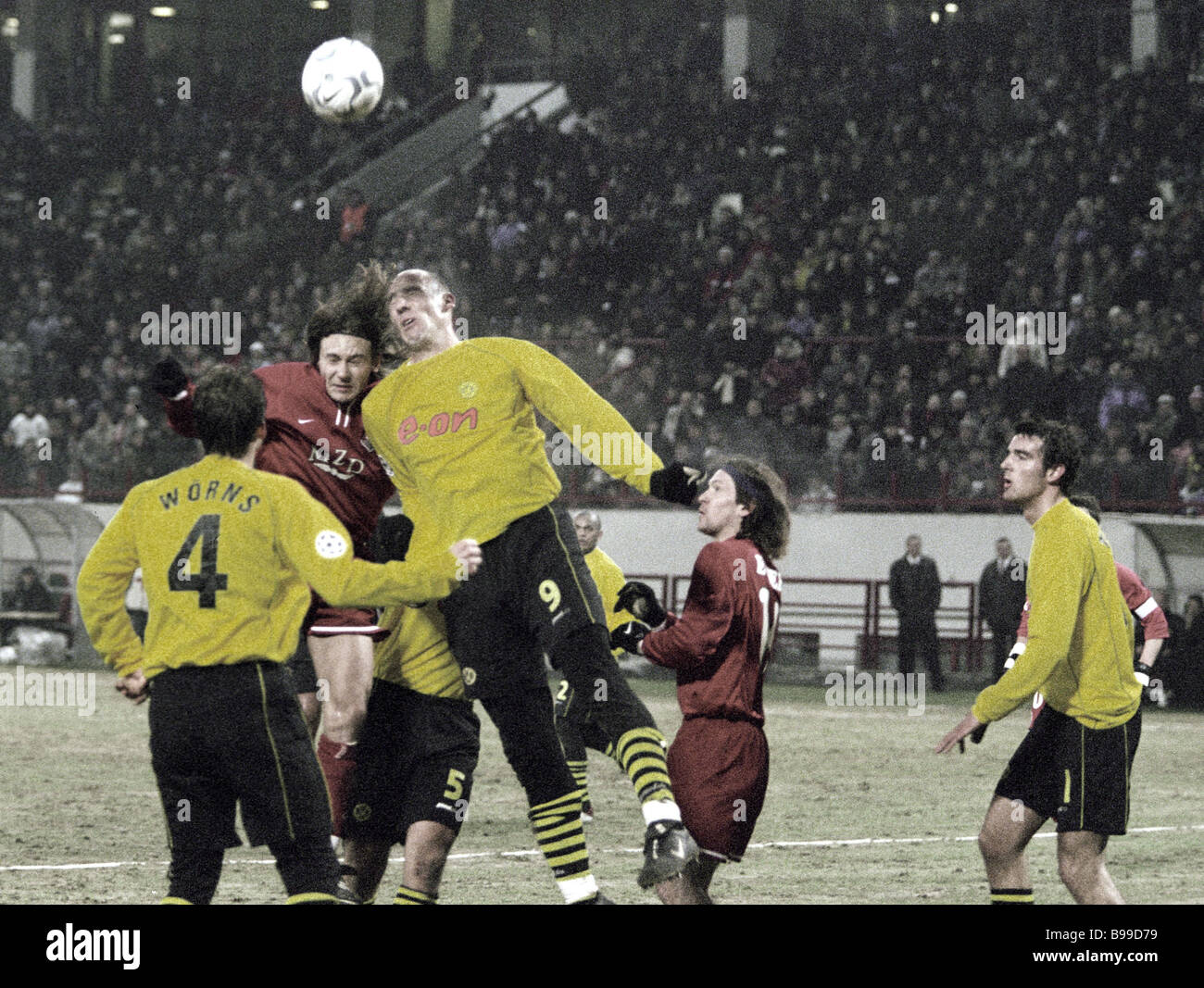 The Locomotive Moscow contests Germany s Borussia on the soccer field - Stock Image