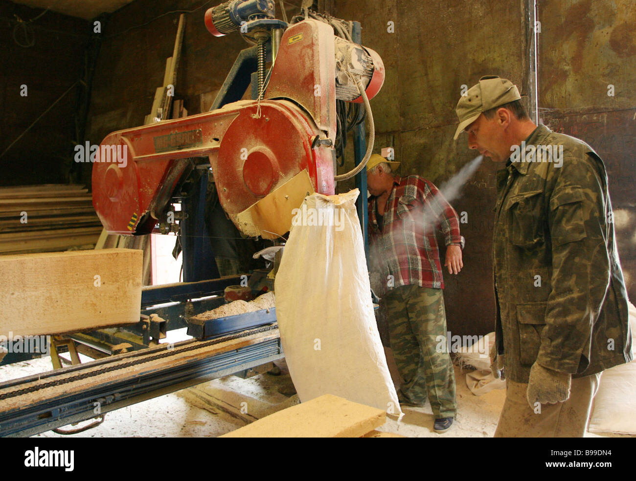 Spartak Ltd saw mill routine Yezvino village in the Tver Region Central Russia - Stock Image