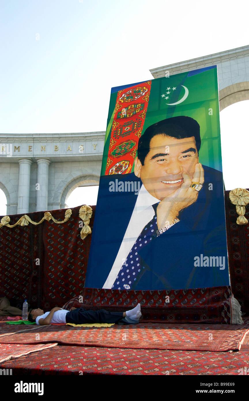 Turkmenbashy cult personality statue Turkmenbashi Stock Photo