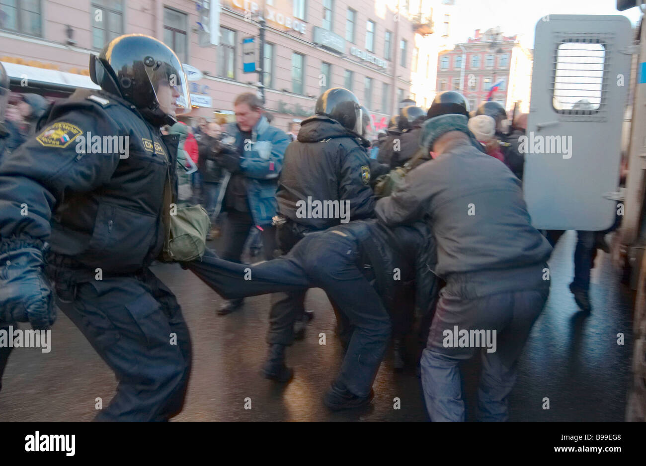 Russky Marsh Russian March participants clash with OMON Special Task Militia Force in St Petersburg - Stock Image
