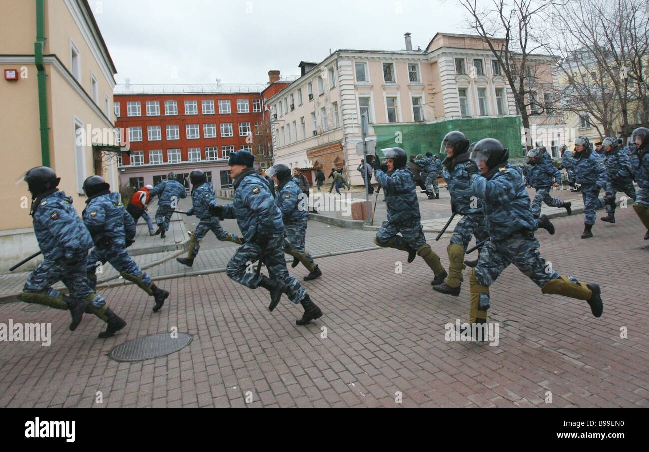 OMON Special Task Militia Force officers during the Russky Marsh Russian March - Stock Image
