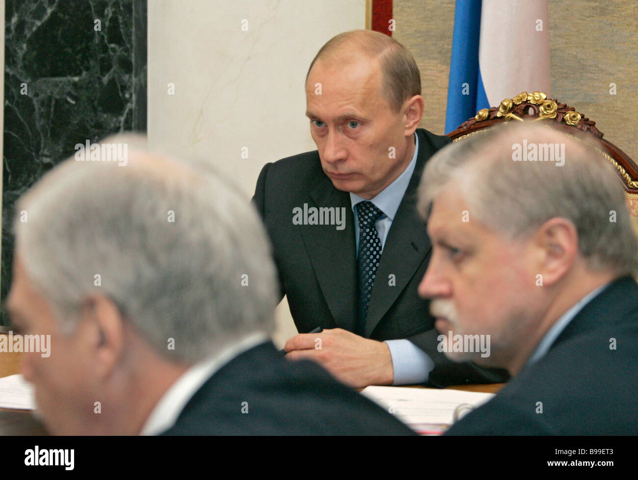 Russia s Security Council permanent members hold conference in the Kremlin President Vladimir Putin background Boris - Stock Image