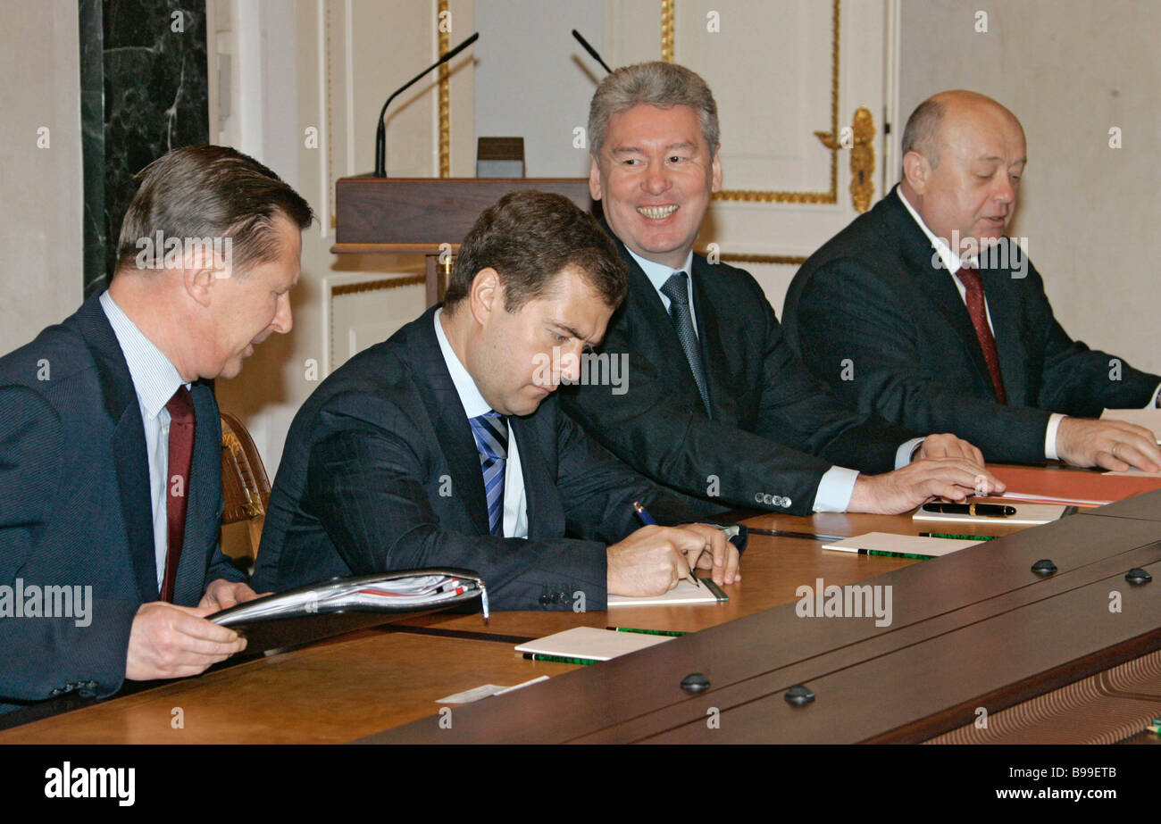 Russia s Security Council permanent members hold conference in the Kremlin Left to right Sergei Ivanov Defense Minister - Stock Image