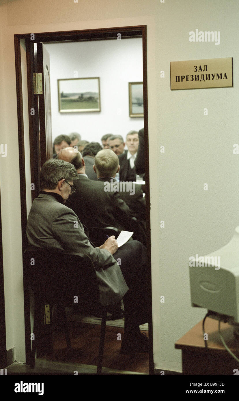 Meeting of the presidium of the Russia movement - Stock Image