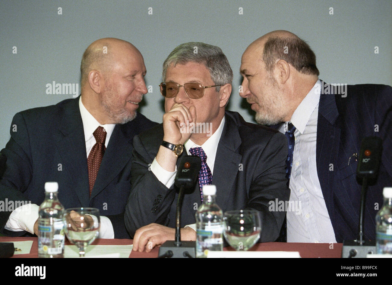 Authors of The Yeltsin Epoch Political History Sketches book Vyacheslav Kostikov left Alexander Livshits center - Stock Image