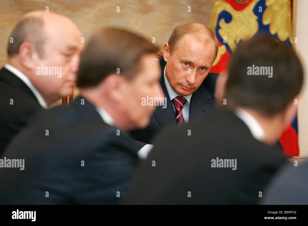 Russian President Vladimir Putin second from left meeting with the Cabinet in the Kremlin - Stock Image