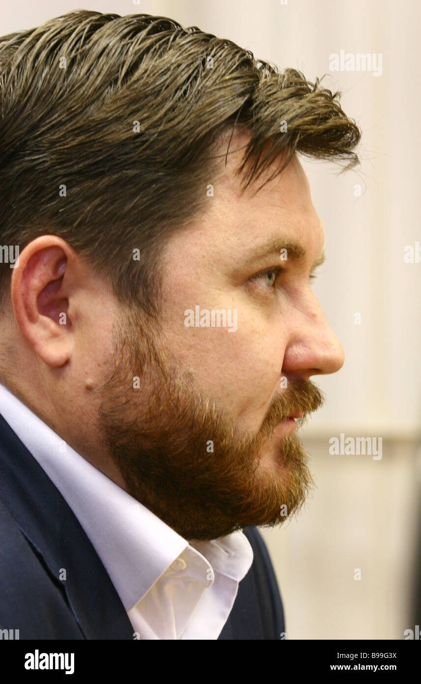Pavel Karev former speaker of Volgograd City Duma Legislature is standing trial once again on charges of accepting - Stock Image