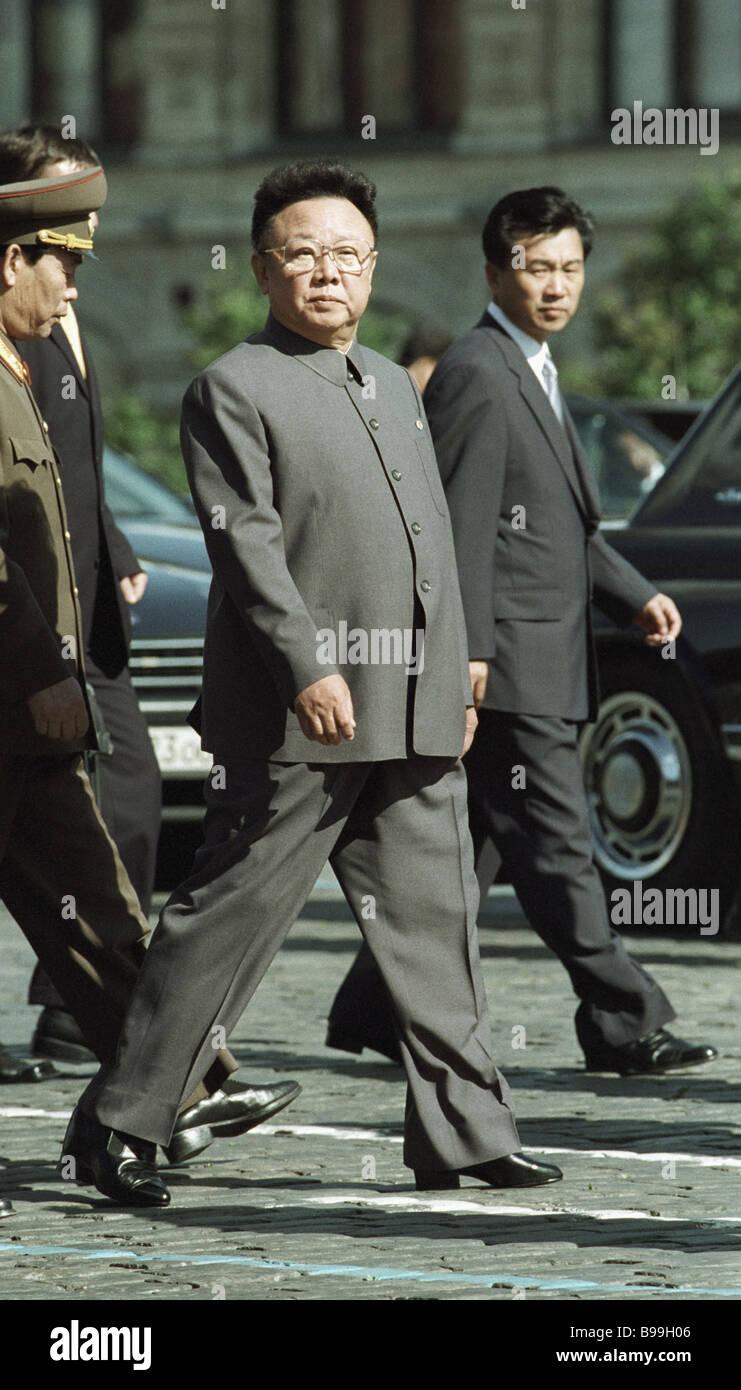 North Korea s leader Kim Jong il walking around Red Square - Stock Image