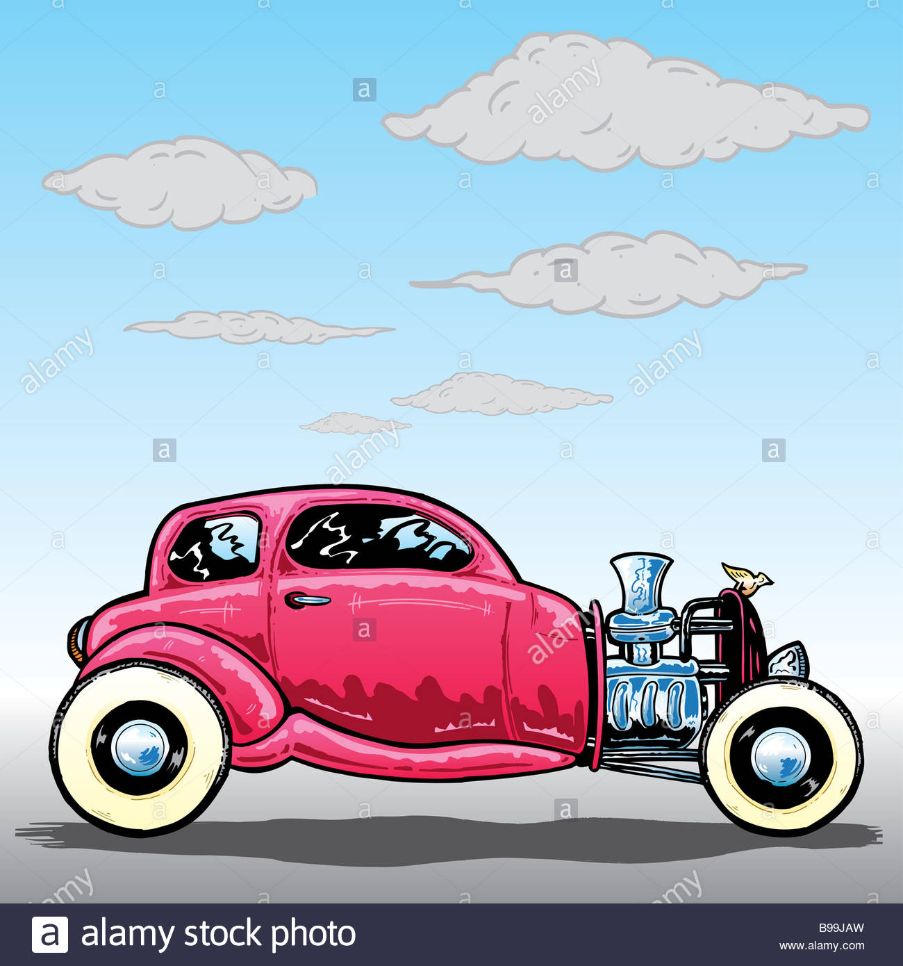 Retro style Hotrod car illustration Stock Photo