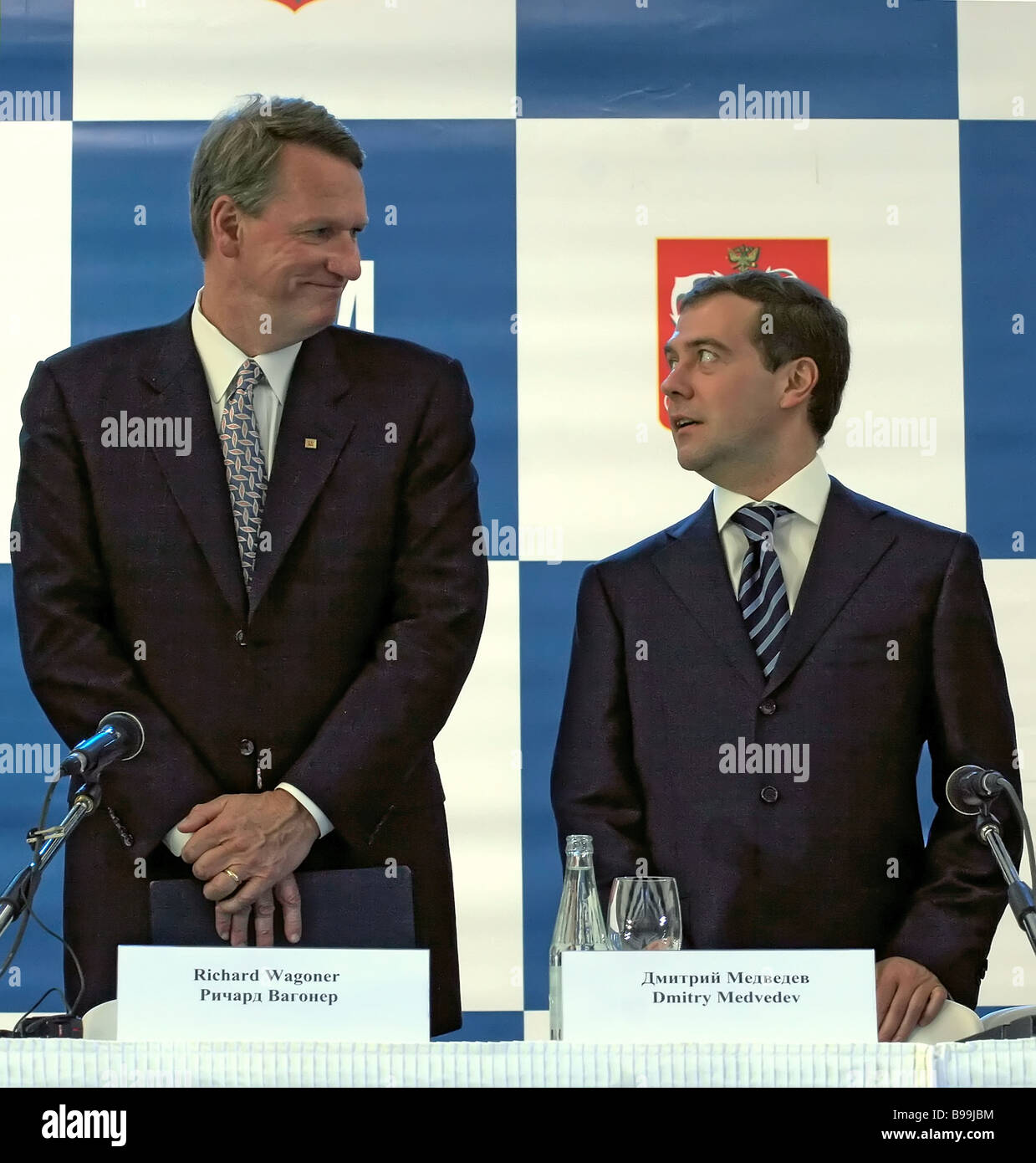 General Motors Chairman and CEO Rick Wagoner and First Vice Premier of the Russian Government Dmitry Medvedev left Stock Photo