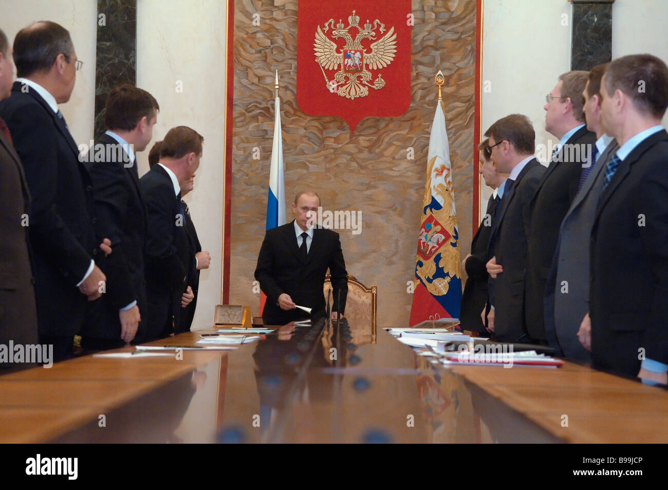 Russian President Vladimir Putin holds conference with government members in the Kremlin - Stock Image