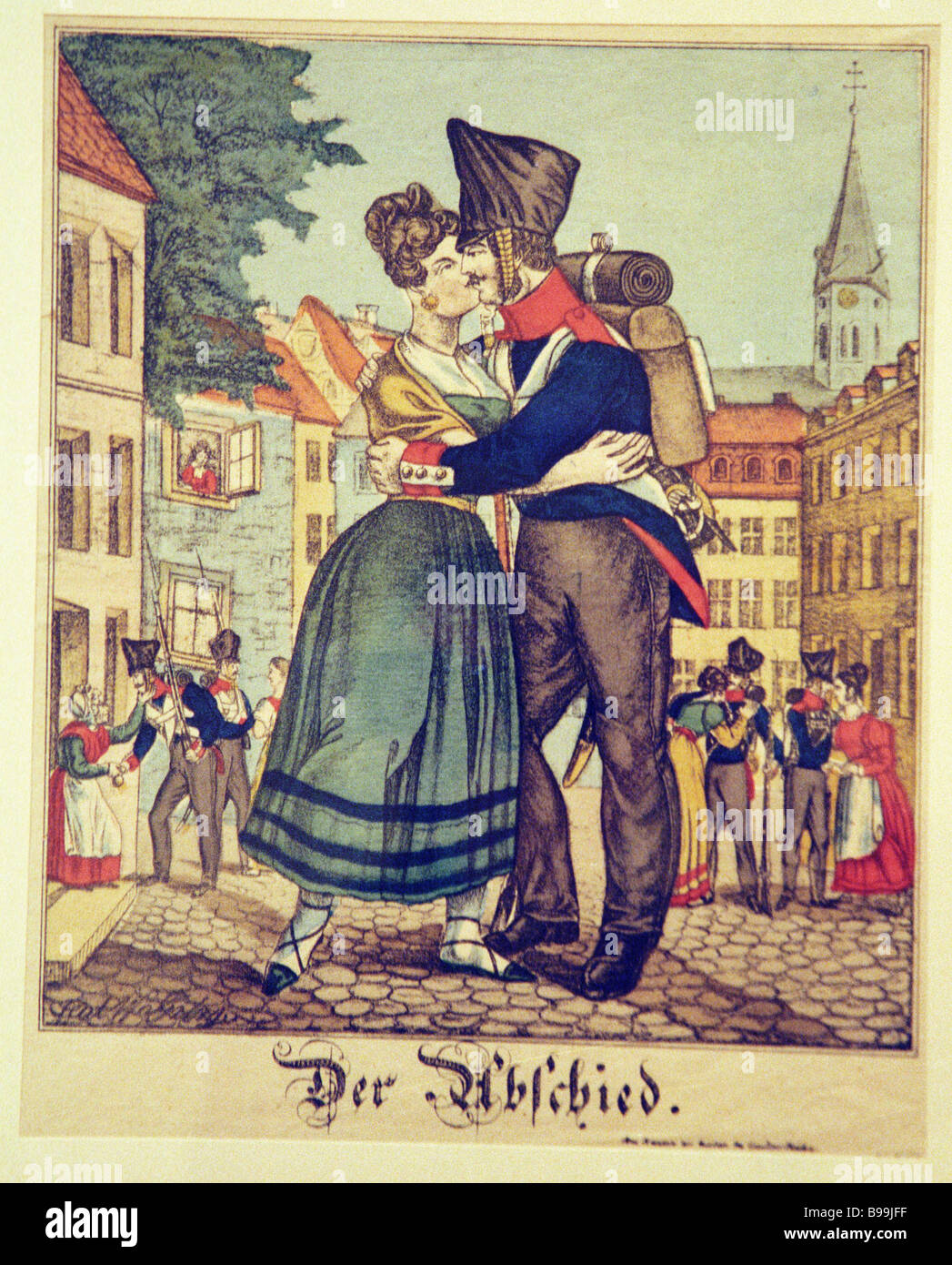 Popular print Fairwell about 1830 from the collection of the State Berlin Museum - Stock Image