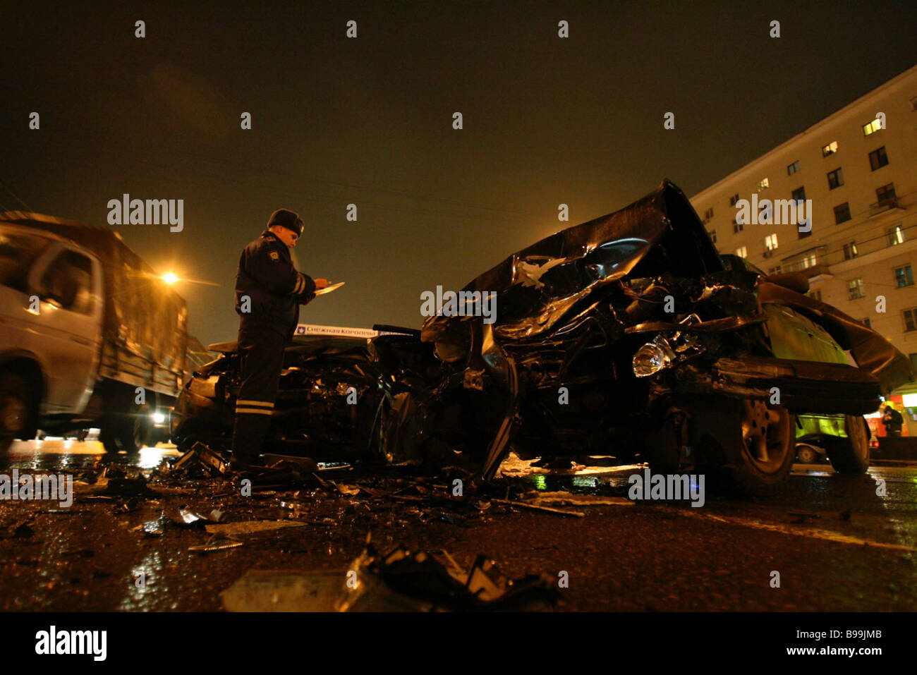 Traffic policeman writes protocol at the scene of traffic accident on Moscow s Volokolamsk Highway - Stock Image