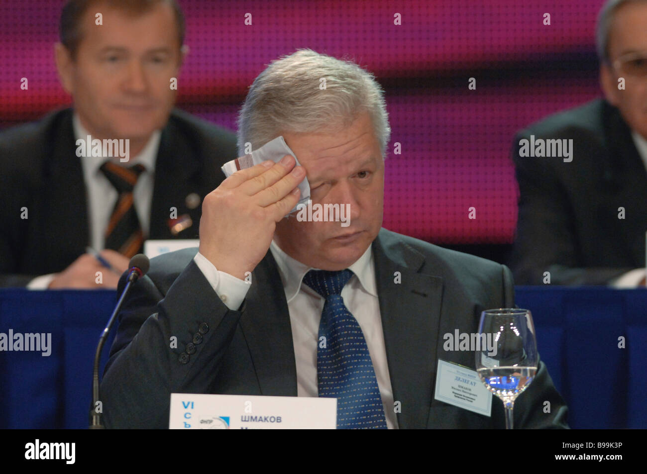 Head of the Federation of Independent Trade Unions Mikhail Shmakov addressing the 6th session of the Federation - Stock Image