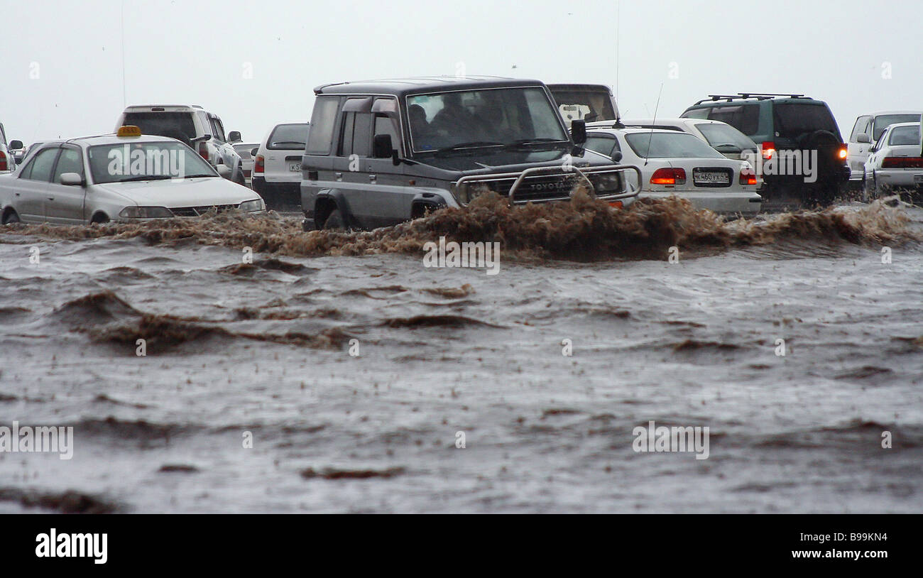 The state of emergency is announced in Kamchatka due to shower rains - Stock Image