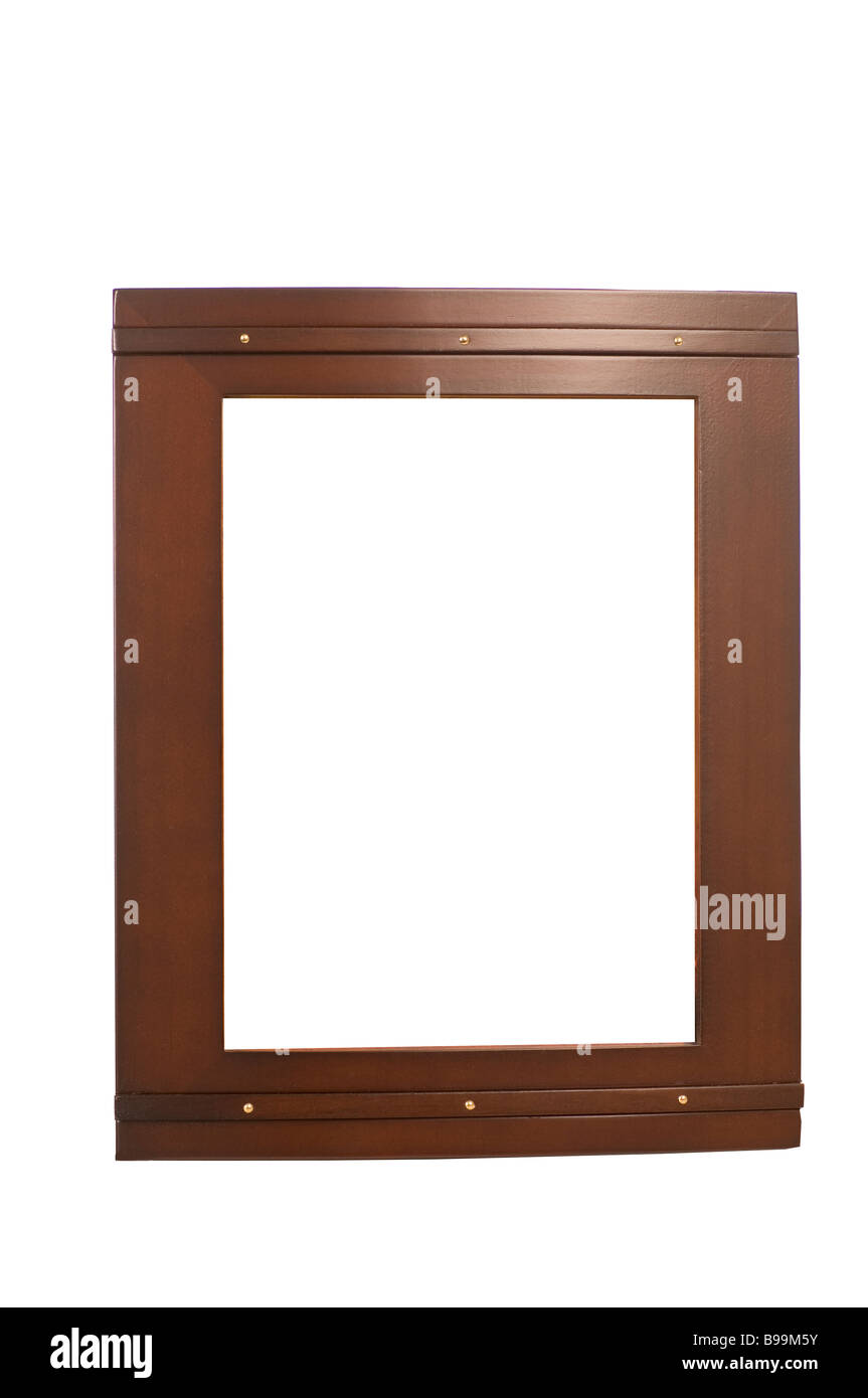 Dark brown picture frame cutout on a white background - Stock Image