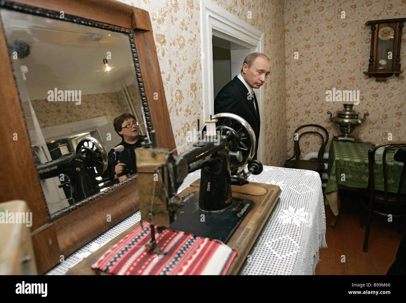 Russian President Vladimir Putin visiting the Tsiolkovsky Home Museum in Kaluga - Stock Image