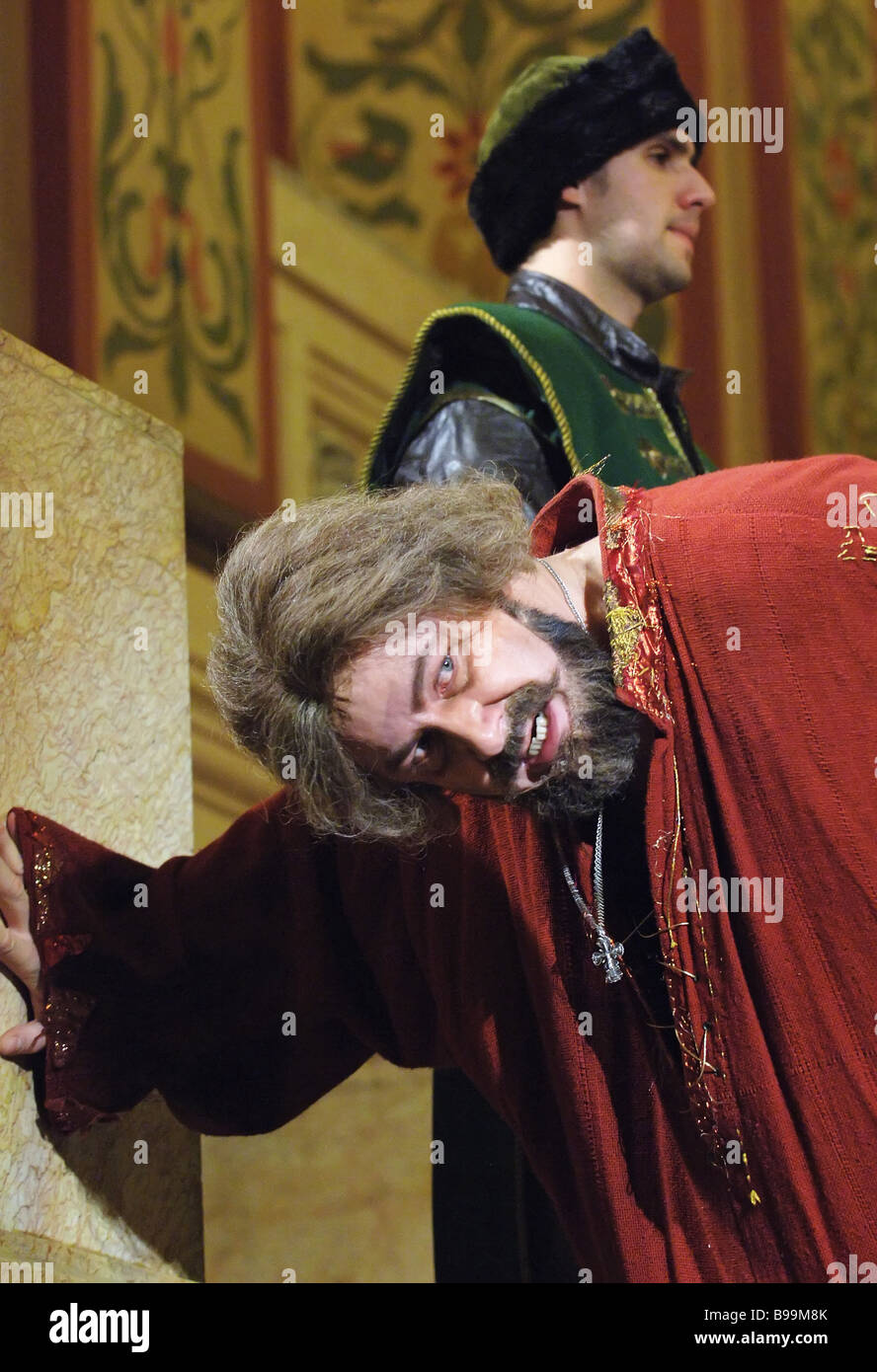 Two act historical drama Boris Godunov presented at the State History Museum Vladimir Kudashev stars as Boris Godunov - Stock Image