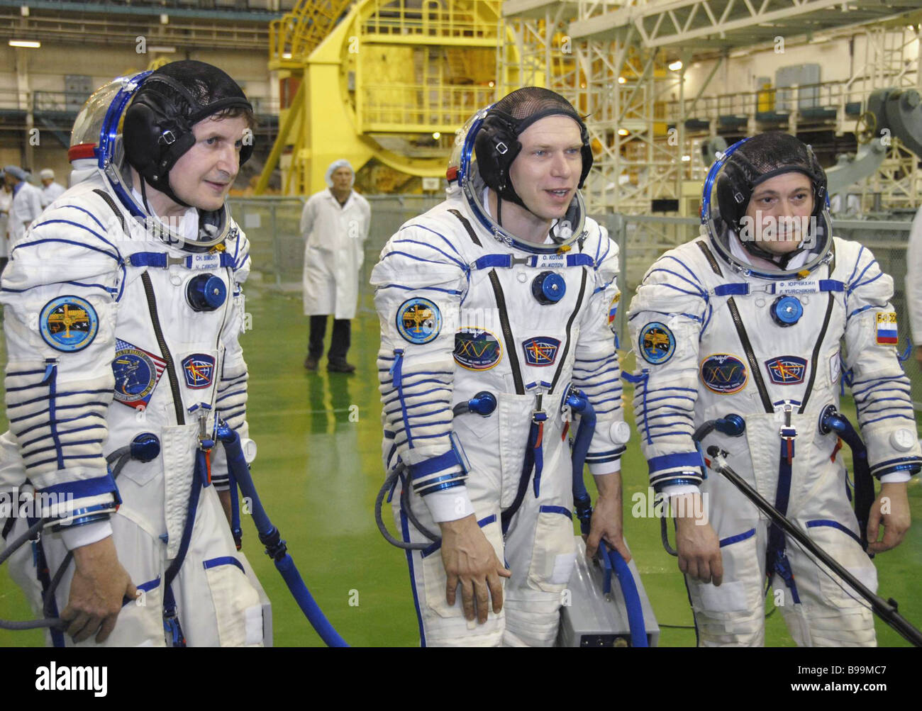 Members of the main crew of the fifteenth expedition to the International Space Station ISS i e Russian cosmonauts - Stock Image