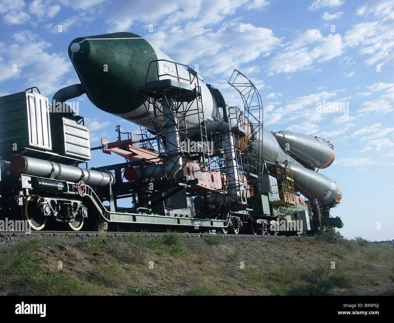 June 22 2006 The carrier rocket Soyuz with the Progress M 57 space truck in pre launch readiness in Baikonur It - Stock Image