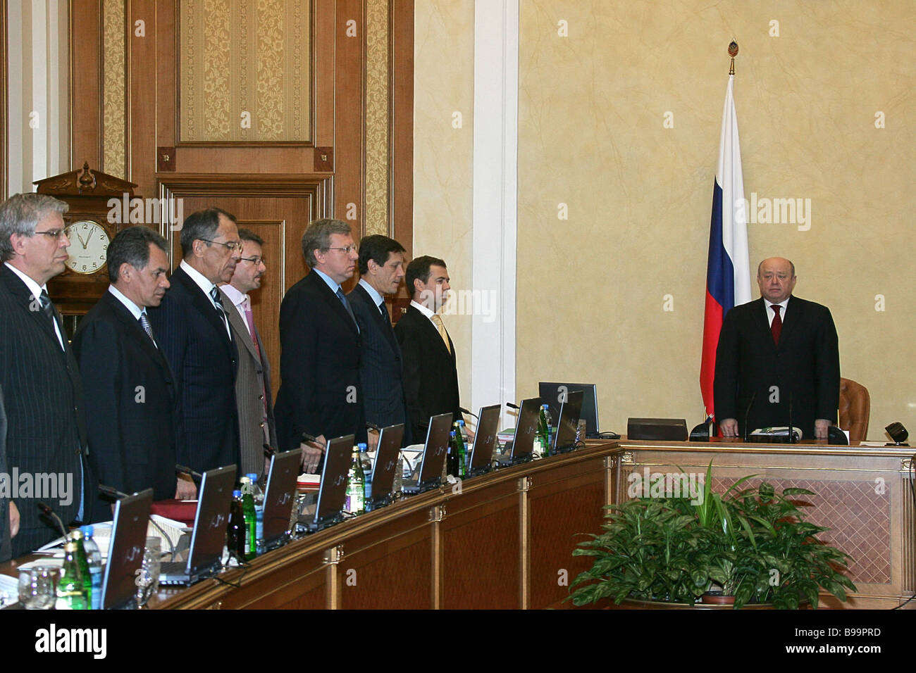 Russian cabinet members before the session - Stock Image