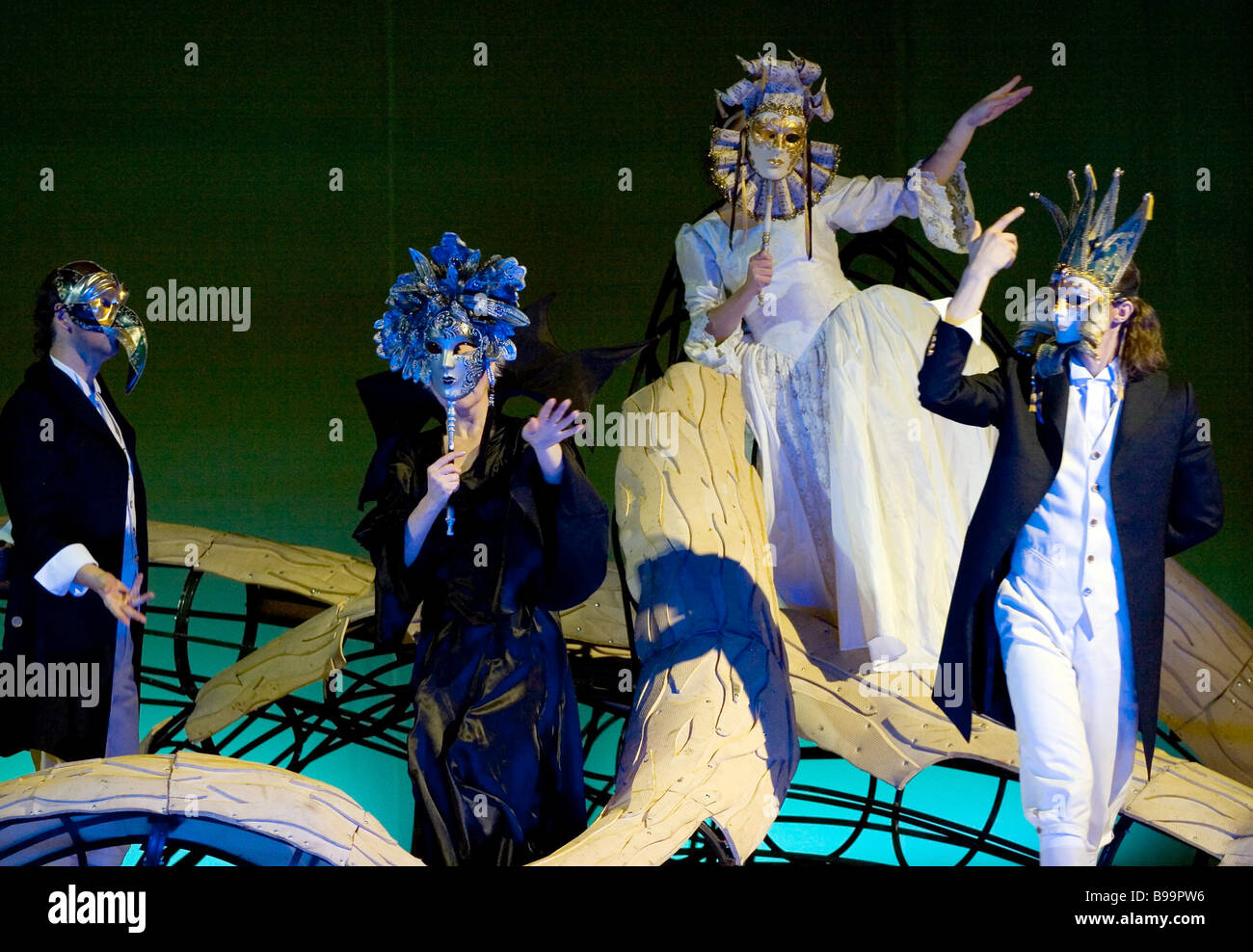 Scene from the performance Tiny Family Crimes on the 70th birthday of producer Roman Viktyuk - Stock Image