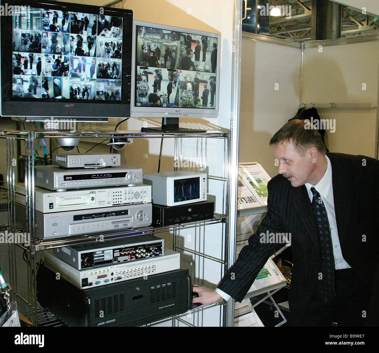 Video monitoring systems exhibited at the 12th Security Technologies international forum in Moscow - Stock Image