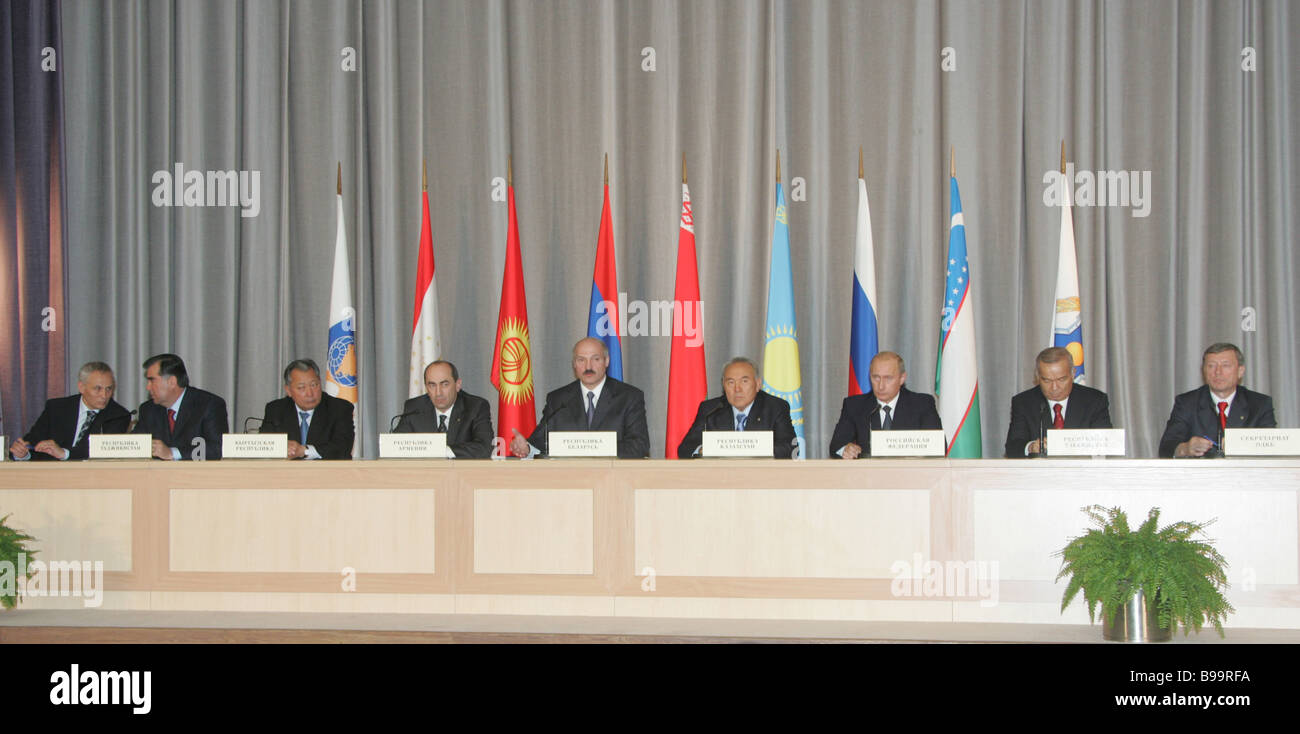 EurAsEC and CSTO summiteers address a news conference in Minsk - Stock Image