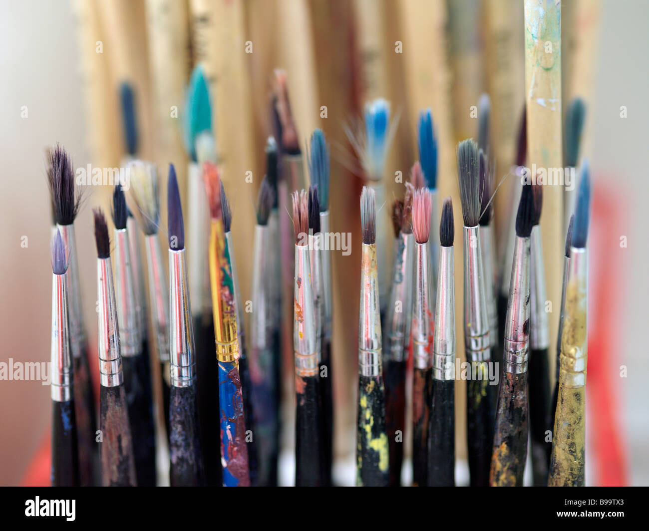 small paint brushes - Stock Image