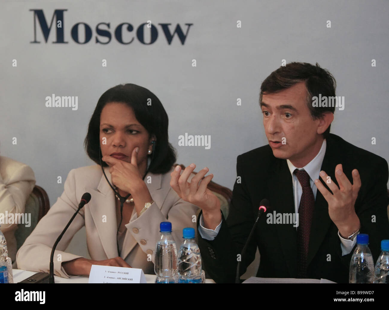 Condoleezza Rice U S State Secretary and Filippe Douste Blazy Foreign Minister of France during the G8 Foreign Ministers - Stock Image