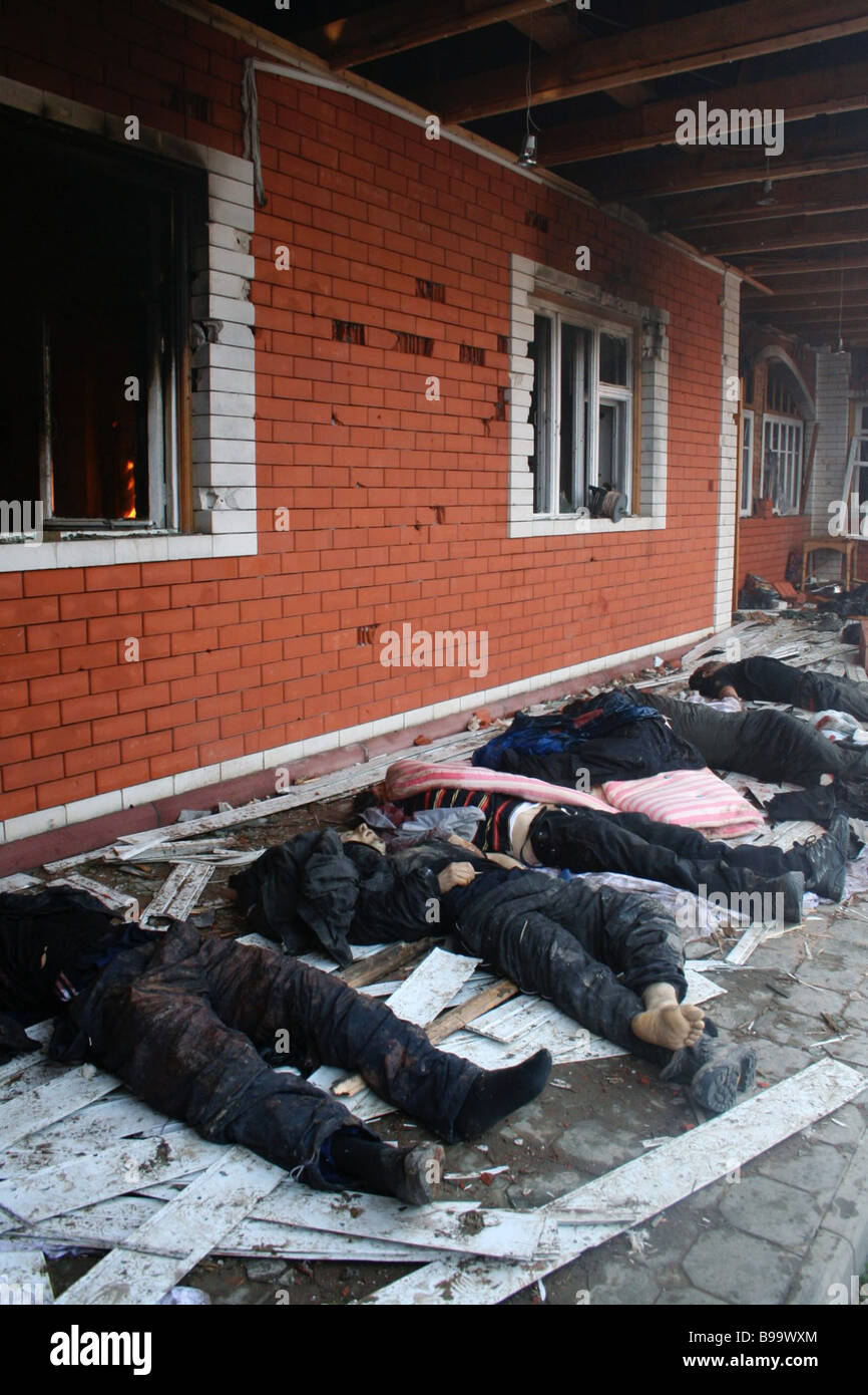 Five rebels died in battle as Russian commandos took by storm their hiding place at 37 Mir Street in Khasavyurt - Stock Image